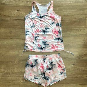 Xersion Floral Active Workout Set - Tank + Shorts